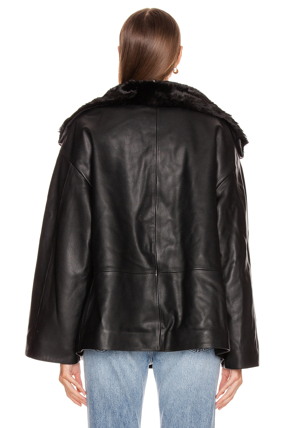 Image 4 of Toteme Reversible Annecy Leather Jacket in Black