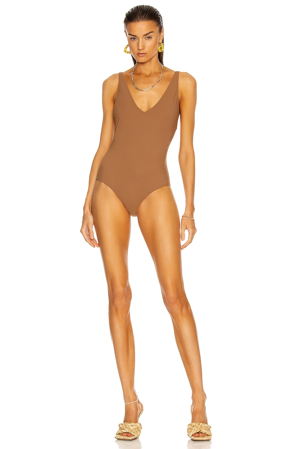 Image 1 of Toteme Deep Neck Swimsuit in Nougat