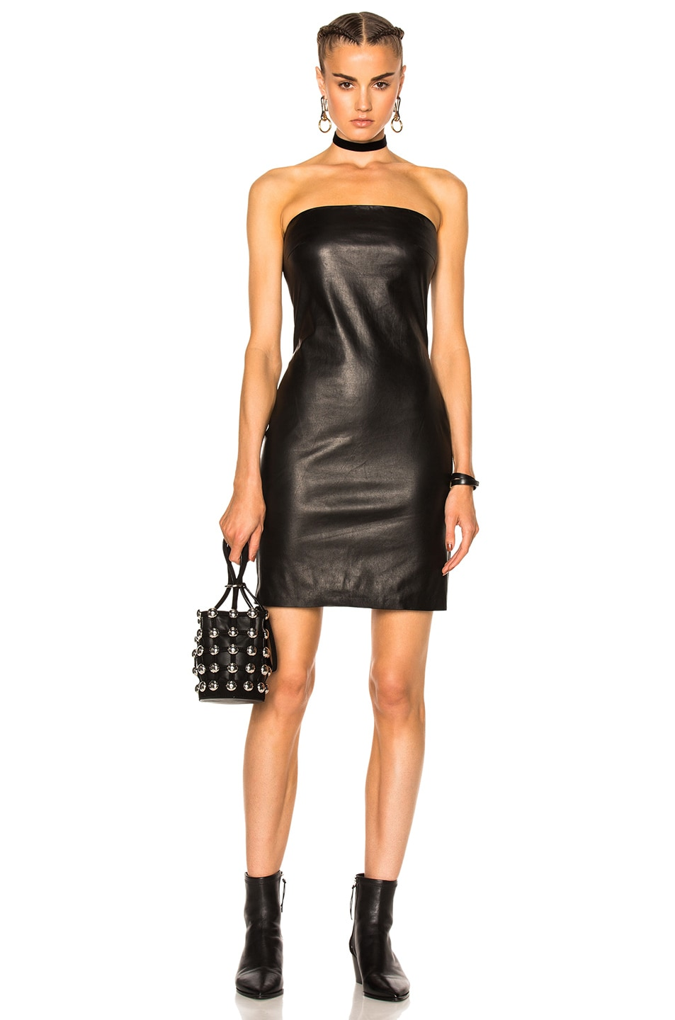 Image 1 of ThePerfext Rita Leather Dress in Black