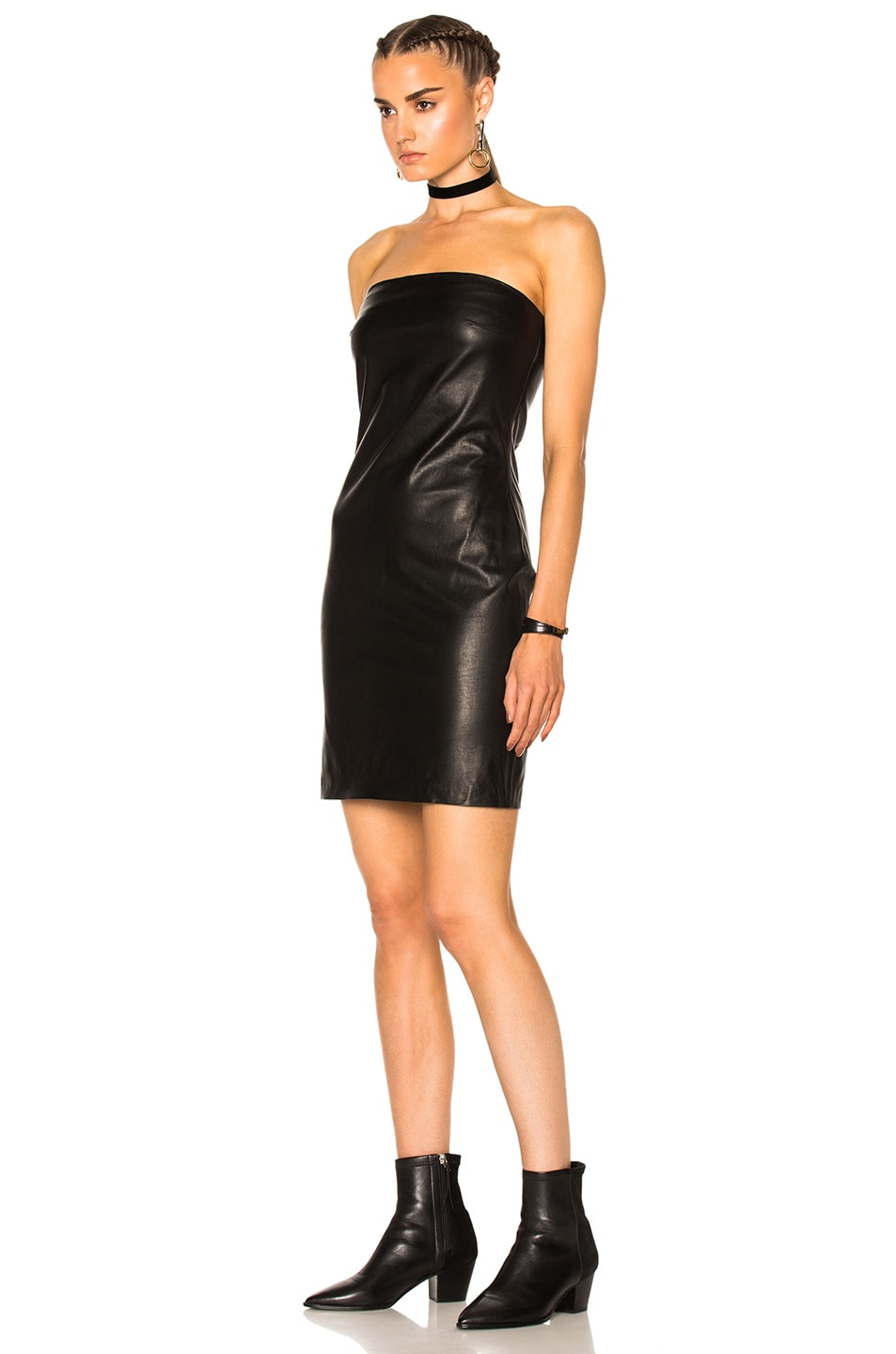 Image 2 of ThePerfext Rita Leather Dress in Black