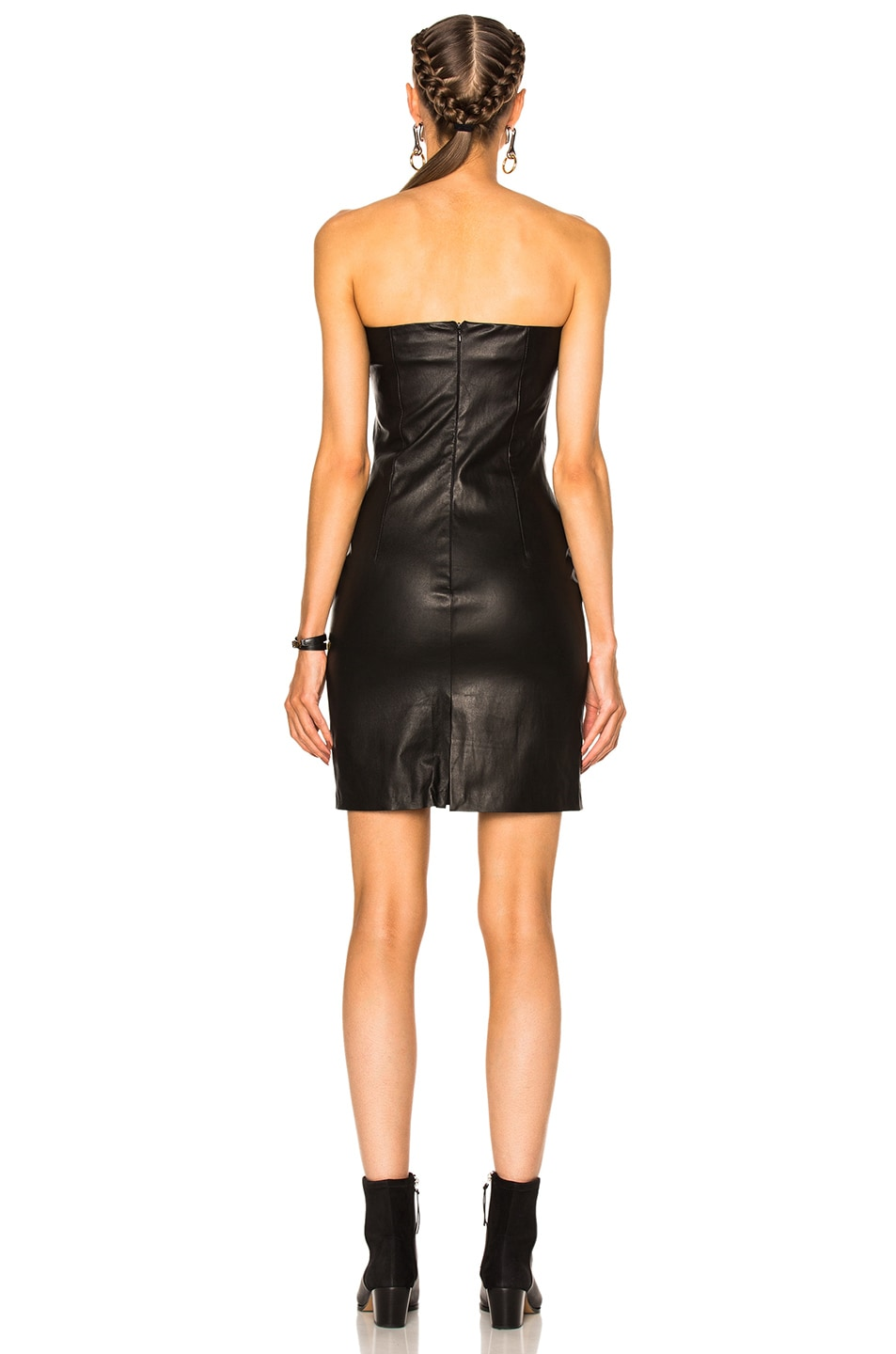 Image 4 of ThePerfext Rita Leather Dress in Black