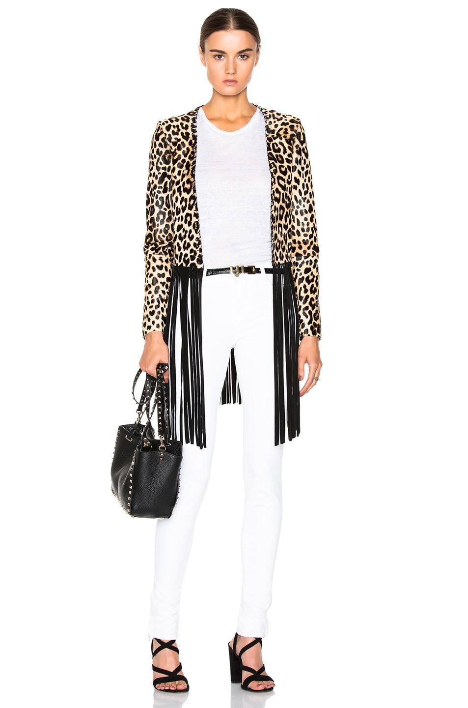 Image 1 of ThePerfext Christy Fringe Pony Jacket in Leopard