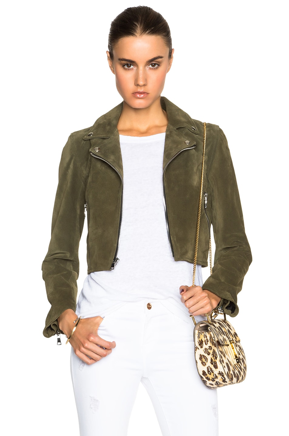 Image 1 of ThePerfext Brooklyn Suede Jacket in Army Green