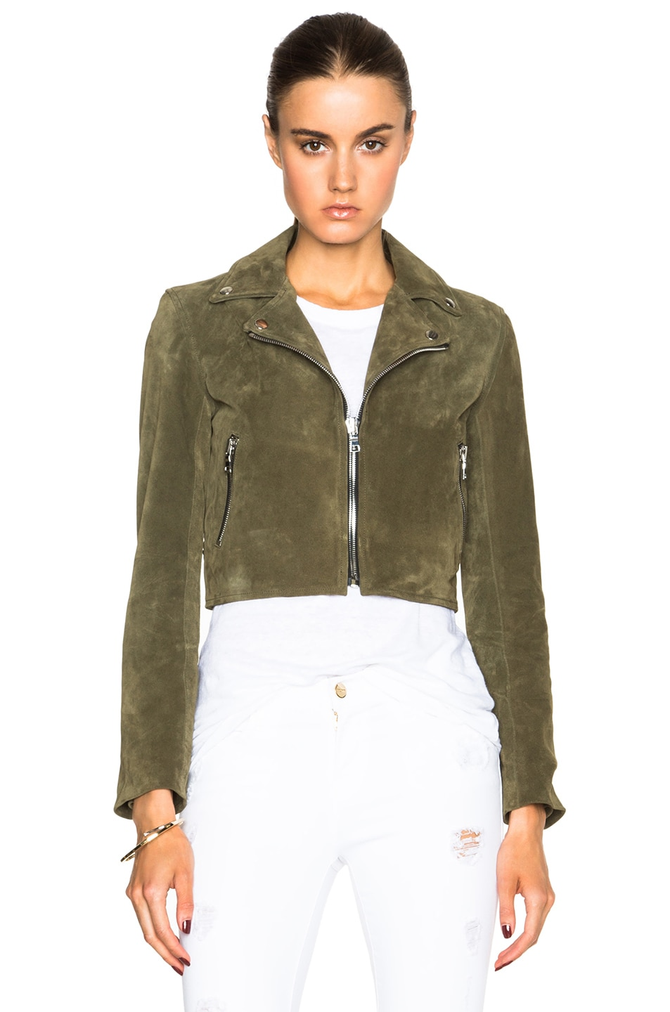 Image 2 of ThePerfext Brooklyn Suede Jacket in Army Green