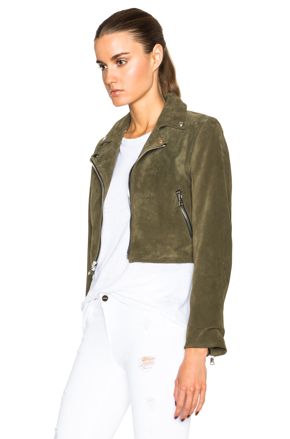 Image 3 of ThePerfext Brooklyn Suede Jacket in Army Green