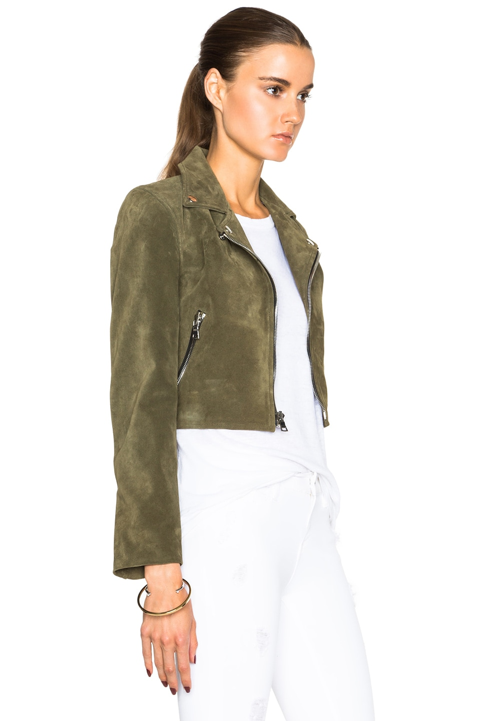 Image 4 of ThePerfext Brooklyn Suede Jacket in Army Green