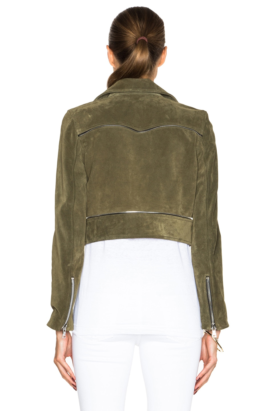 Image 5 of ThePerfext Brooklyn Suede Jacket in Army Green