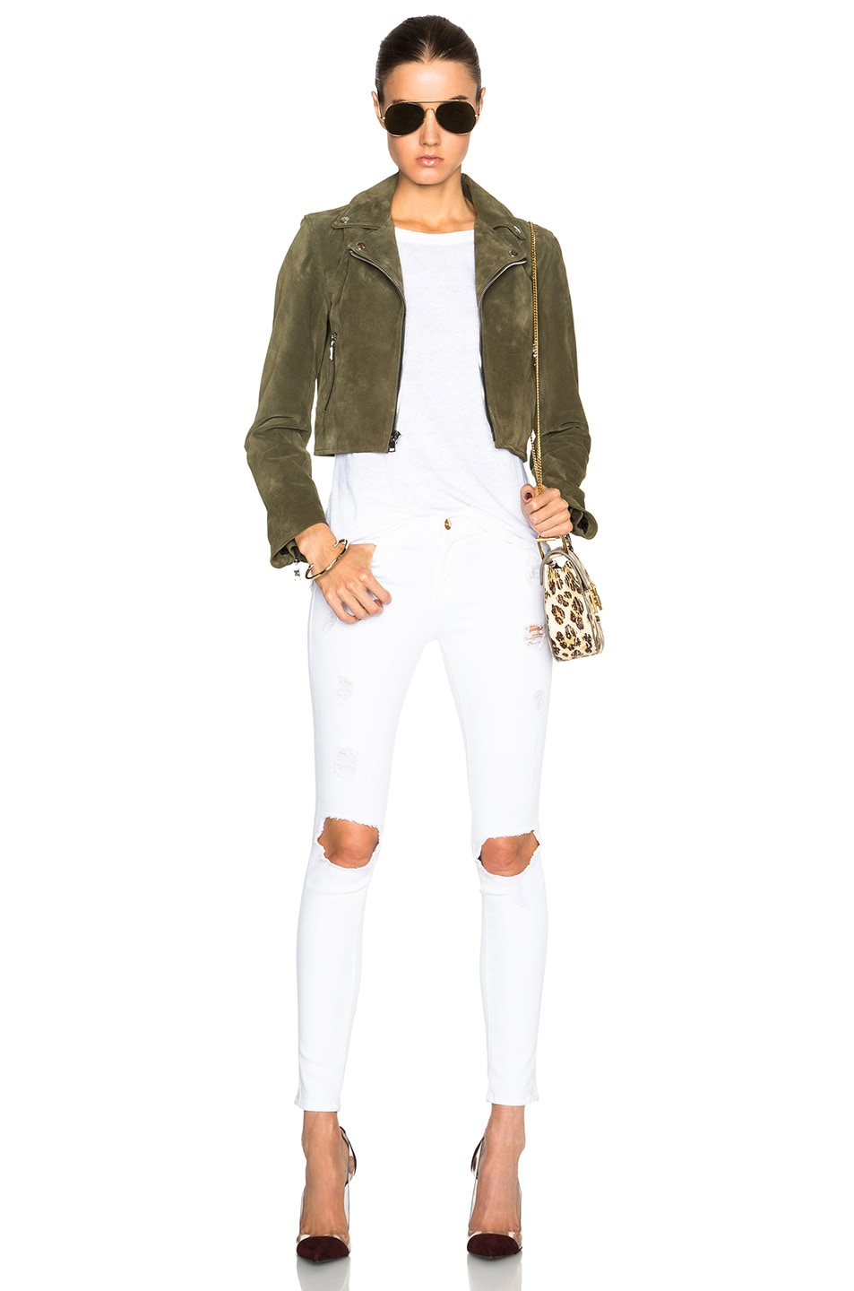 Image 6 of ThePerfext Brooklyn Suede Jacket in Army Green