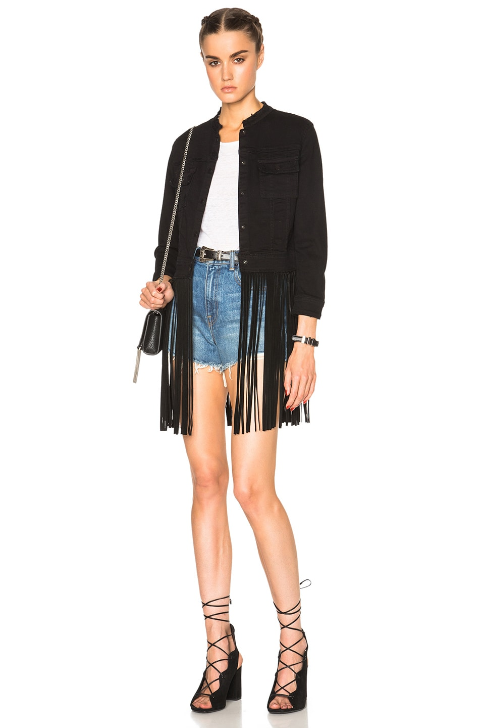 Image 1 of ThePerfext Molly Denim and Leather Fringe Jacket in Black