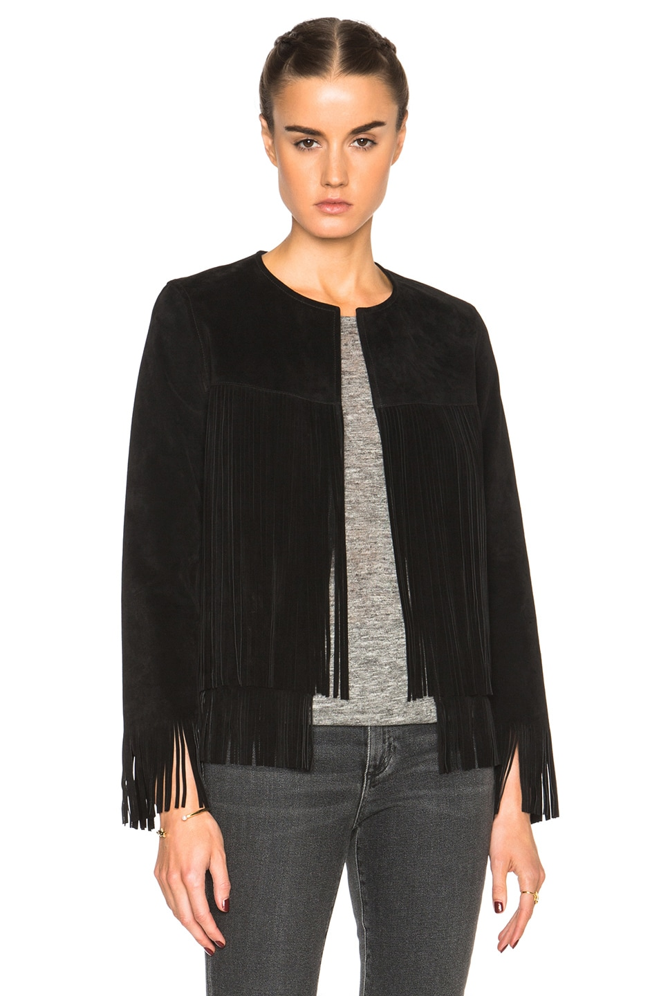 Image 1 of ThePerfext Ryder Classic Thin Fringe Jacket in Black Suede