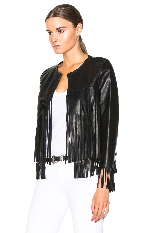 Image 2 of ThePerfext April Fringe Leather Jacket in Black