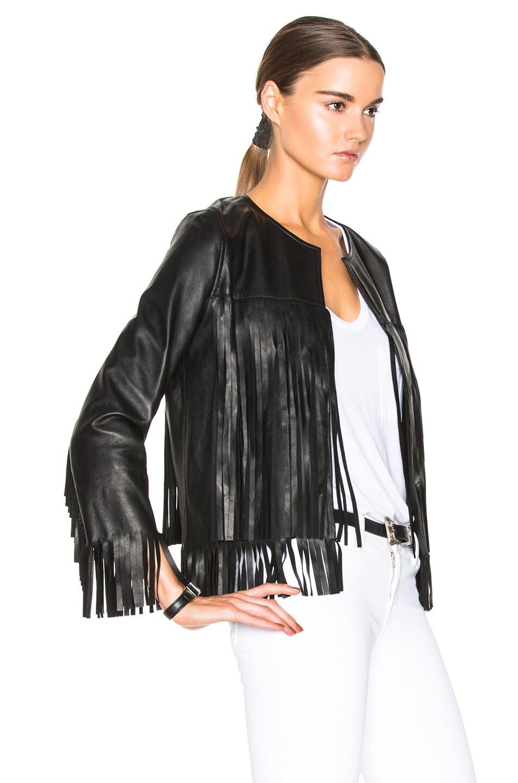 Image 3 of ThePerfext April Fringe Leather Jacket in Black