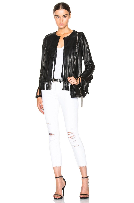 Image 5 of ThePerfext April Fringe Leather Jacket in Black