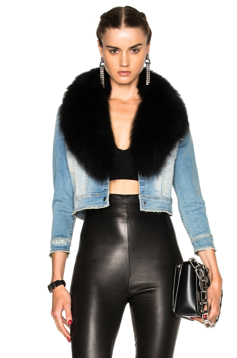 bd75f0953 Image 1 of ThePerfext Carla Jean Jacket with Fox Fur Collar in Light Denim &  Black