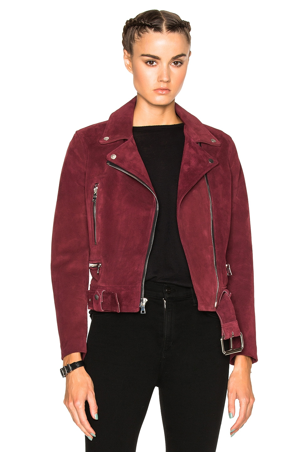 Image 1 of ThePerfext London Belted Suede Moto Jacket in Burgundy