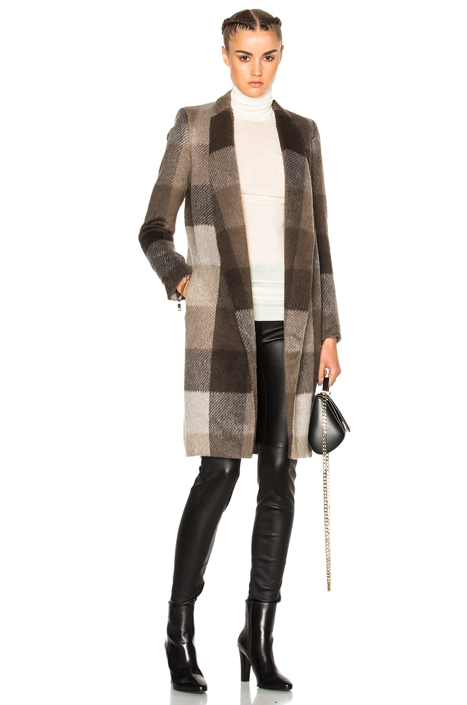 Image 1 of ThePerfext Manhattan Plaid Coat in Taupe