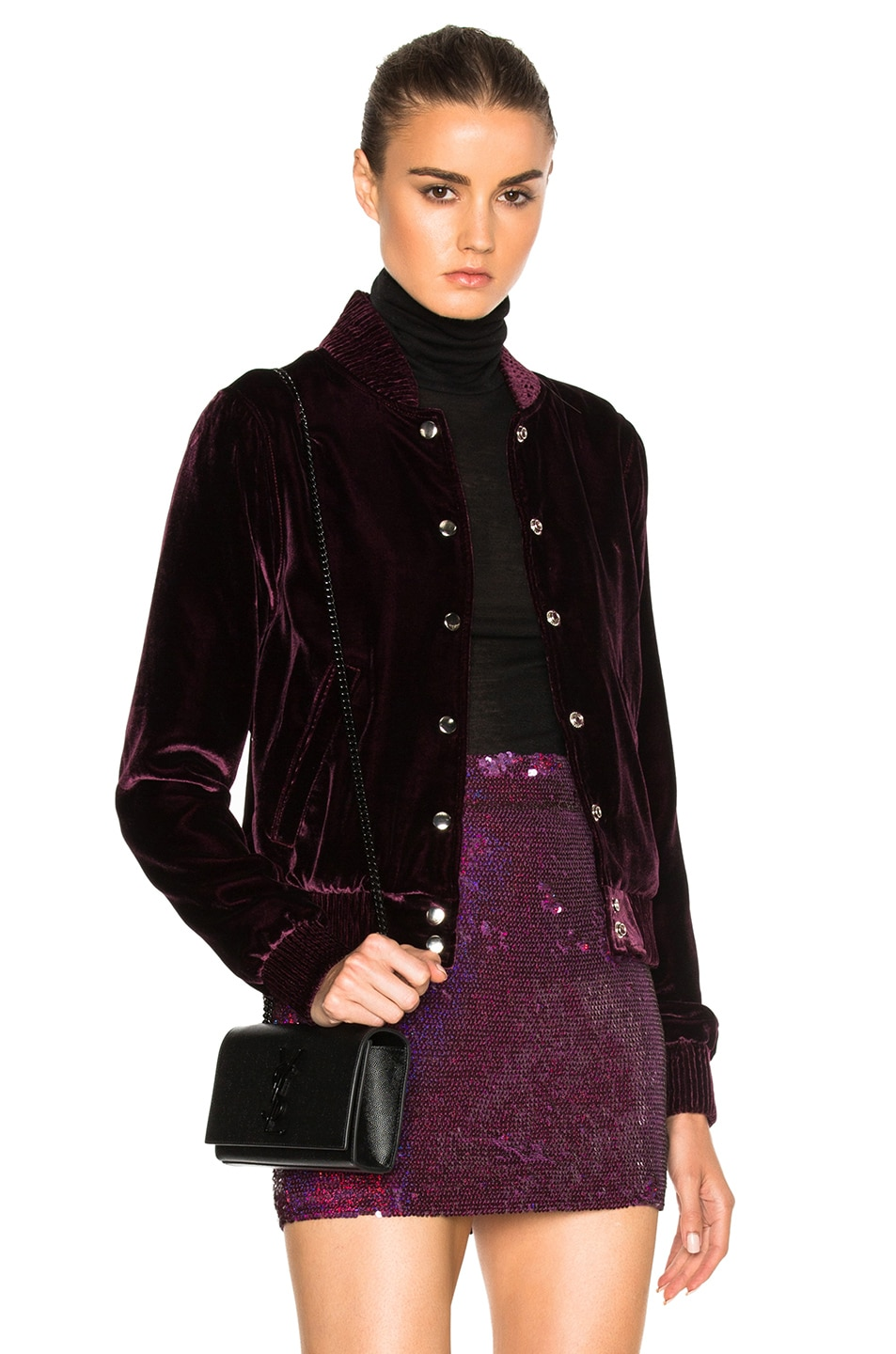 Image 1 of ThePerfext Ashley Bomber Jacket in Burgundy