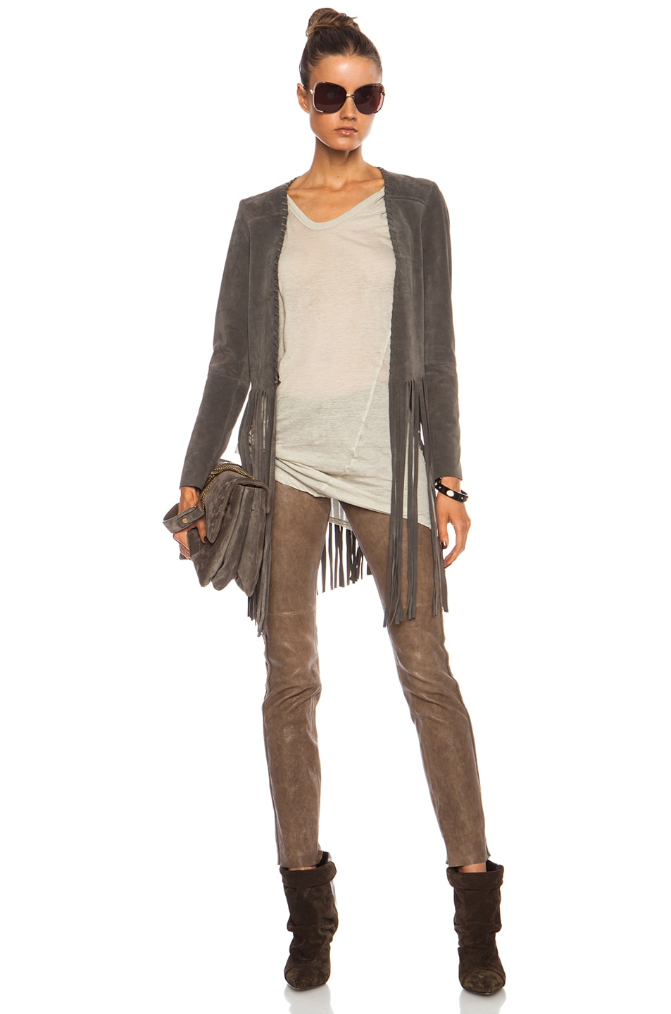 Image 1 of ThePerfext Christy Fringe Suede Jacket in Grey