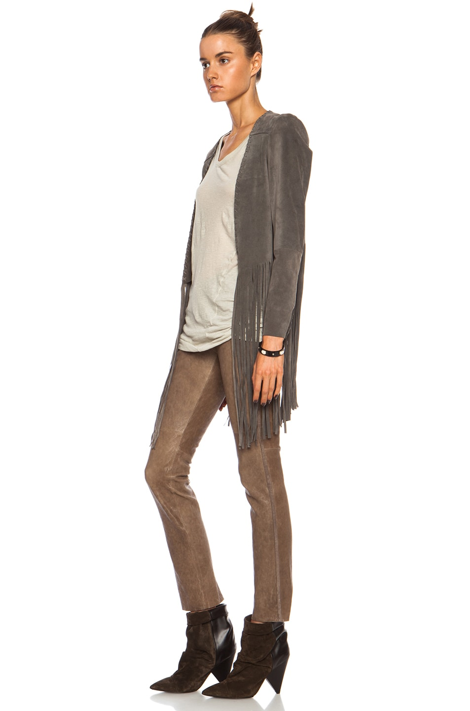 Image 2 of ThePerfext Christy Fringe Suede Jacket in Grey
