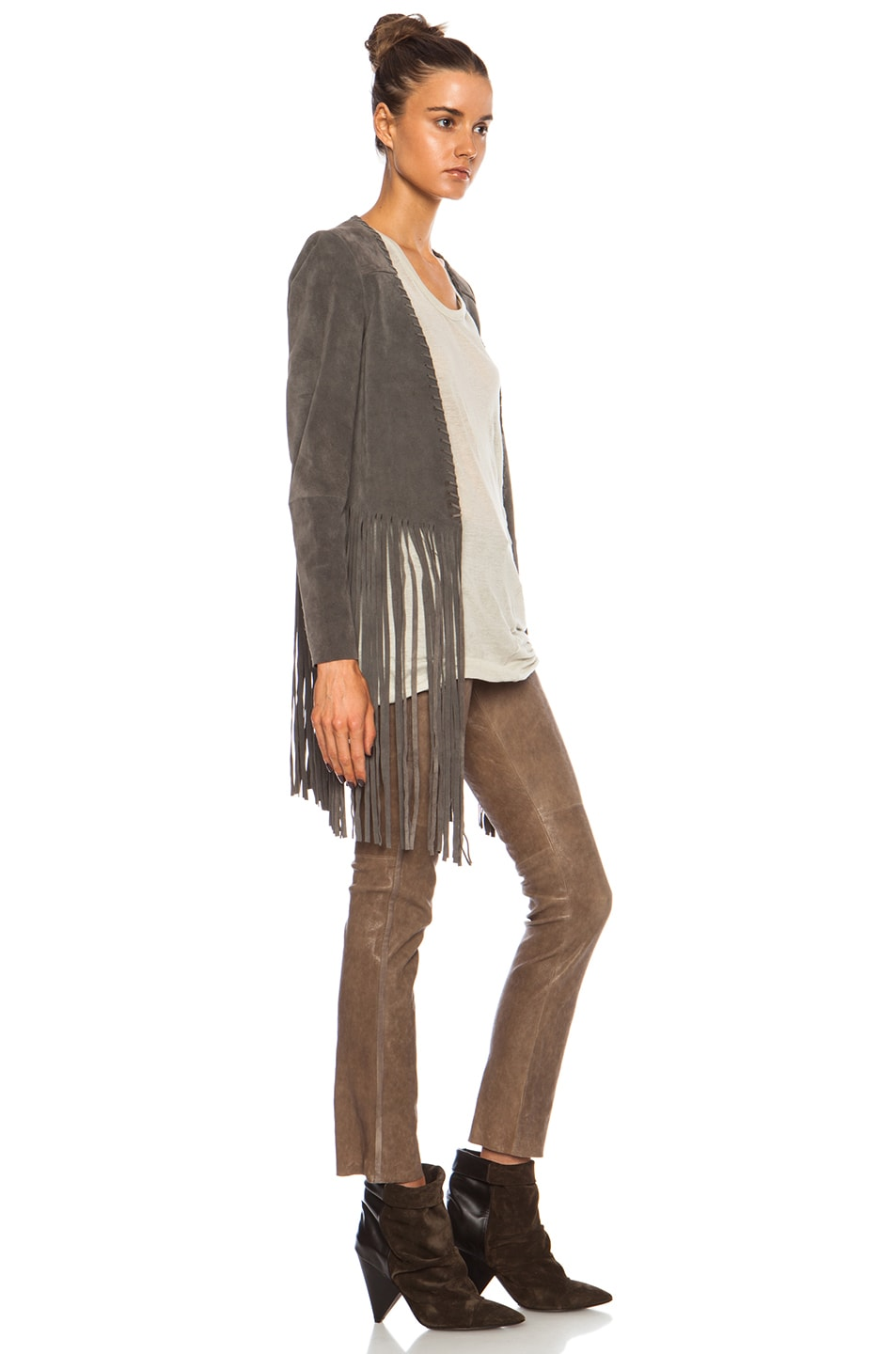 Image 3 of ThePerfext Christy Fringe Suede Jacket in Grey