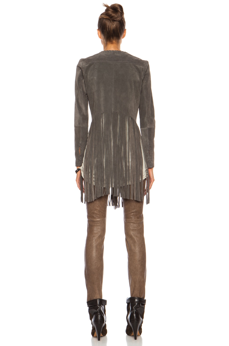 Image 4 of ThePerfext Christy Fringe Suede Jacket in Grey