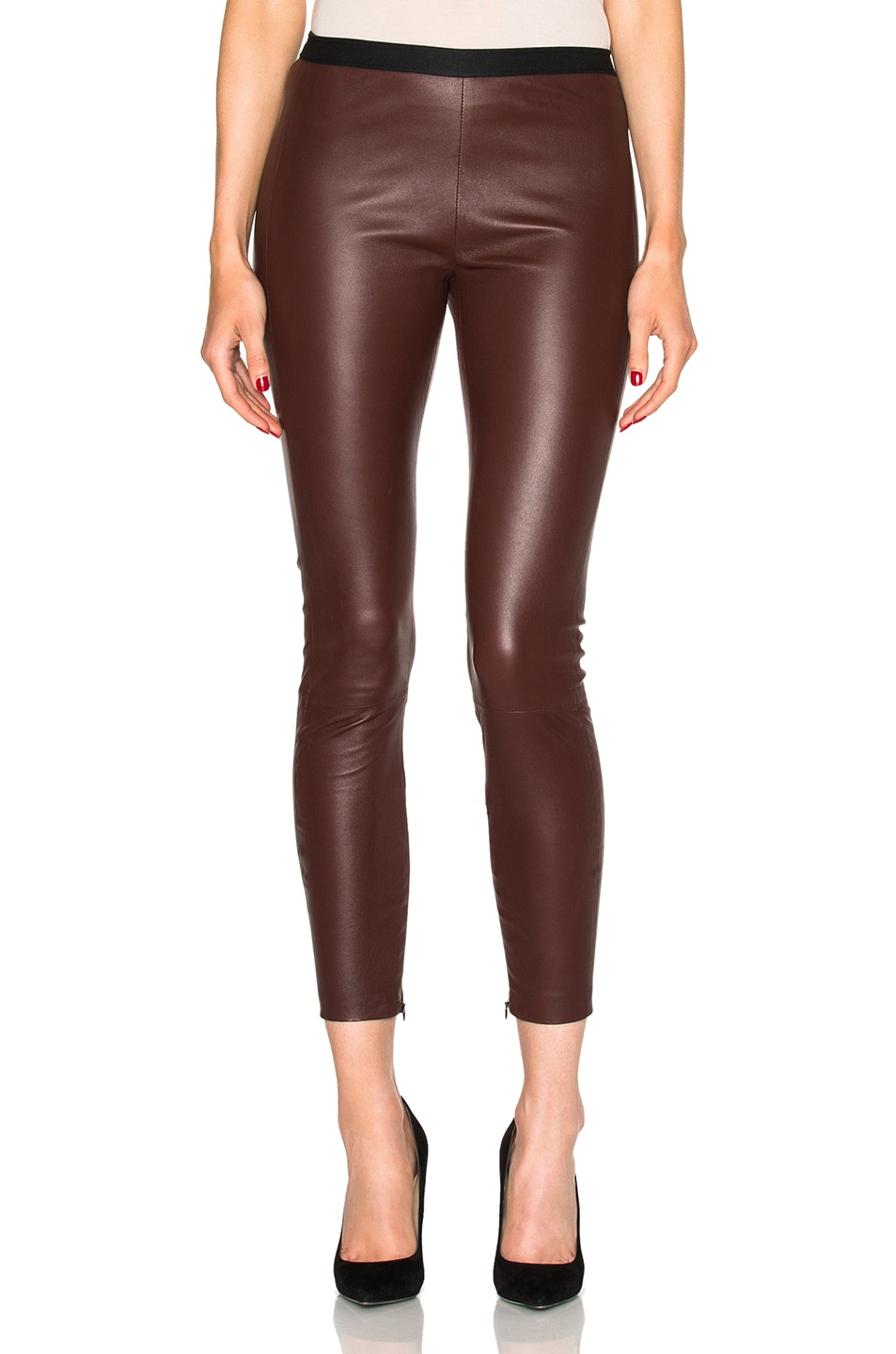 Image 1 of ThePerfext Brittany Cropped Leather Pants in Burgundy