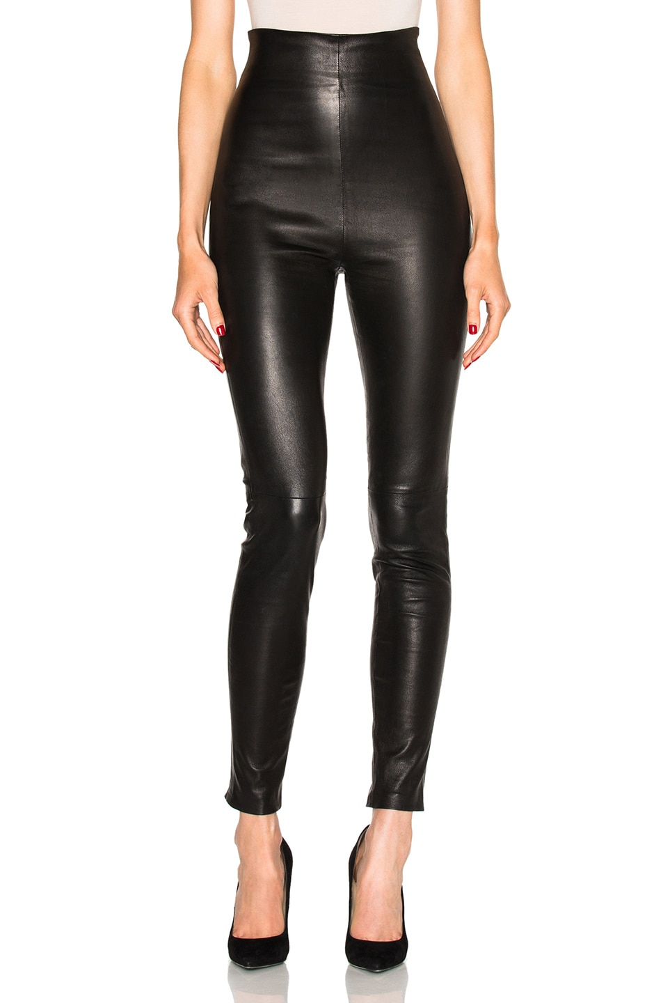 Image 1 of ThePerfext Jessica High Waisted Leather Leggings in Black
