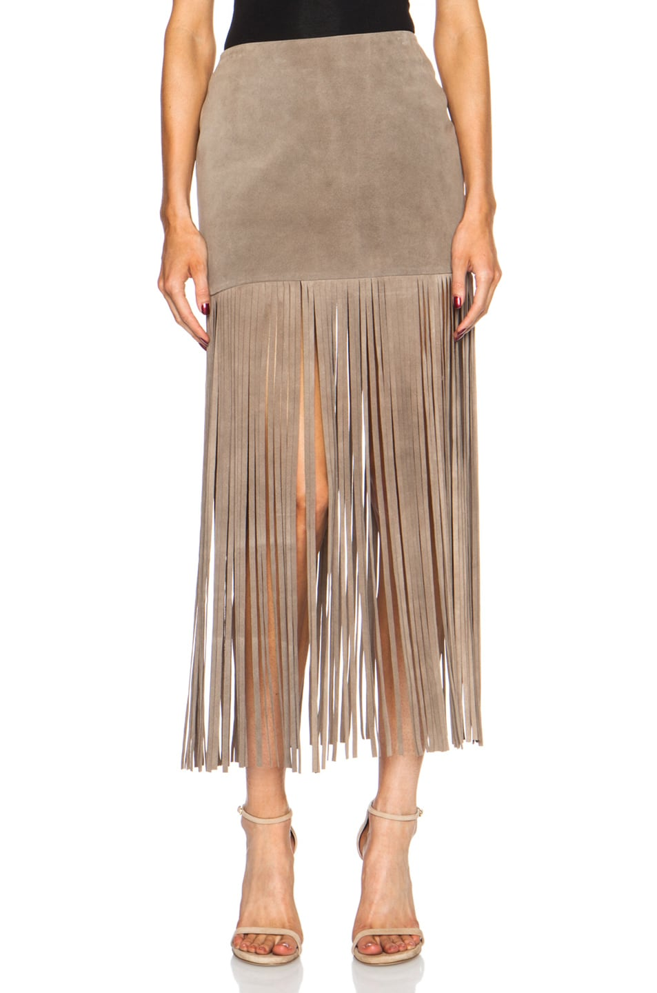 Image 1 of ThePerfext Mimi Fringe Suede Skirt in Elephant