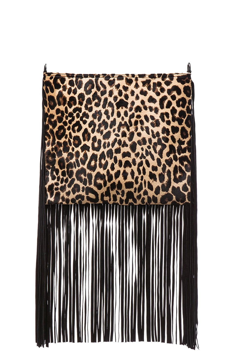 Image 1 Of Theperfext Blair Crossbody Fringe Bag In Leopard Pony