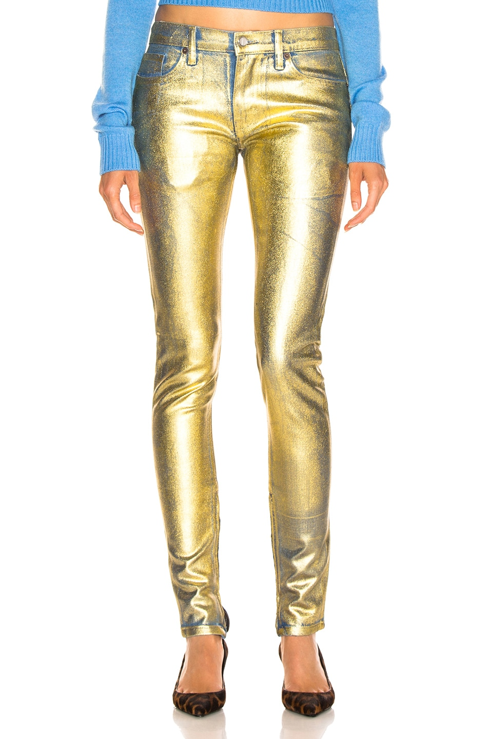 Image 1 of TRE by Natalie Ratabesi Gold Edith Pants in Gold
