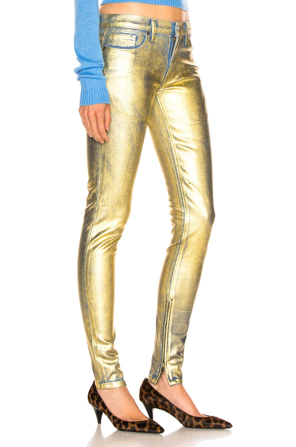 Image 2 of TRE by Natalie Ratabesi Gold Edith Pants in Gold
