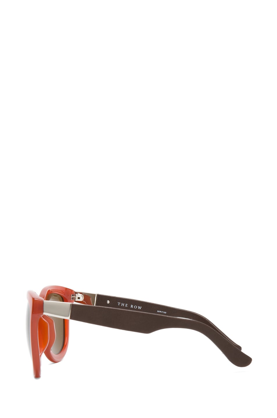 Image 3 of The Row Rounded Wayfarer Sunglasses in Rust & Walnut
