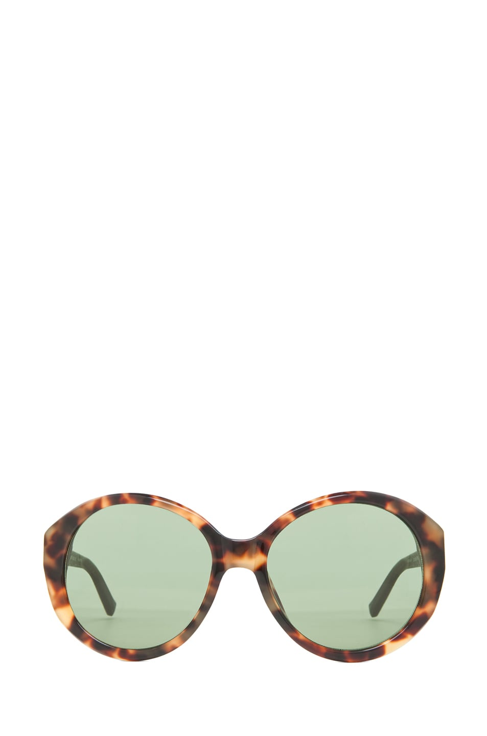 Image 1 of The Row Oversized Round Sunglasses in Tortoise & Dark Green