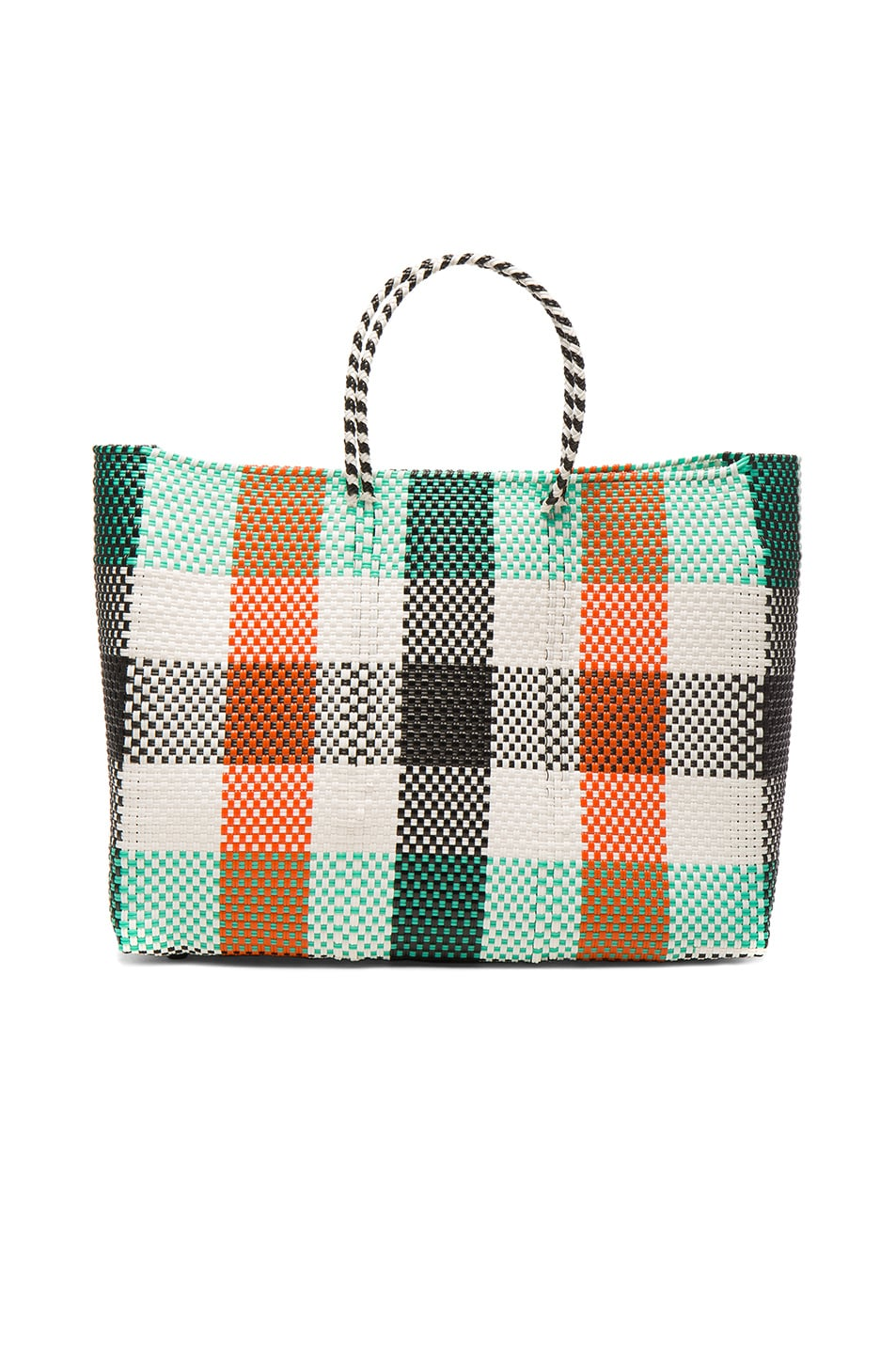 Image 1 of Truss Large Tote in Aqua & Orange Plaid