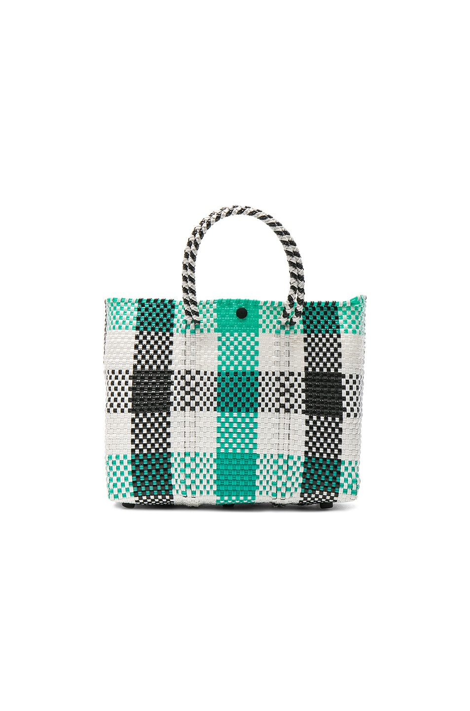 Image 1 of Truss Small Crossbody in Black & Aqua Plaid