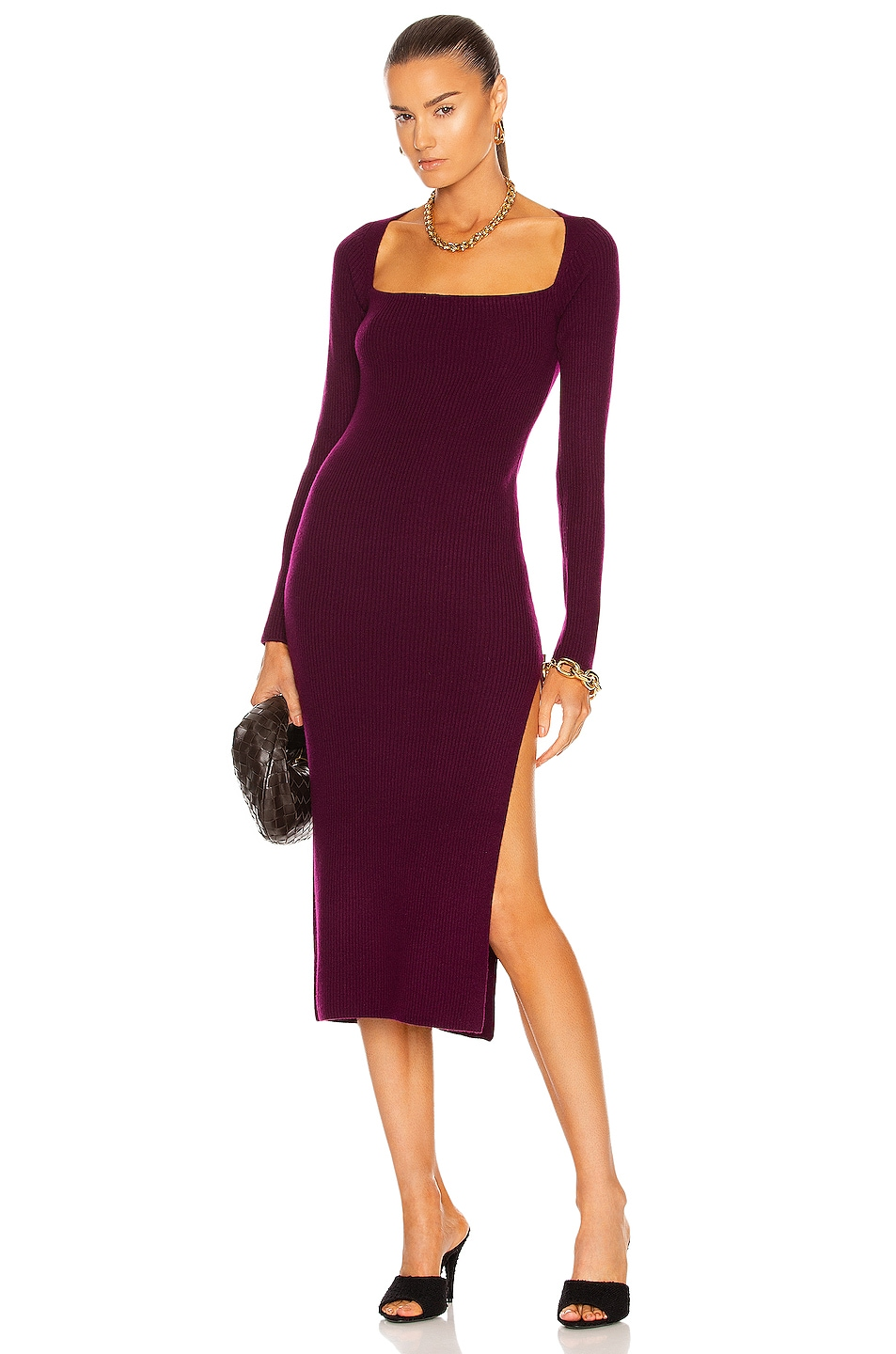 Image 1 of The Sei Square Neck Dress With Slit in Plum