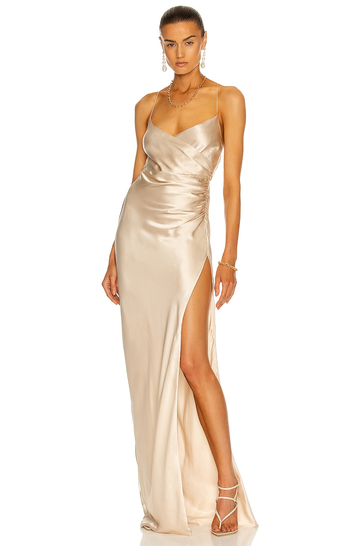 Image 1 of The Sei Strappy Wrap Gown in Bone
