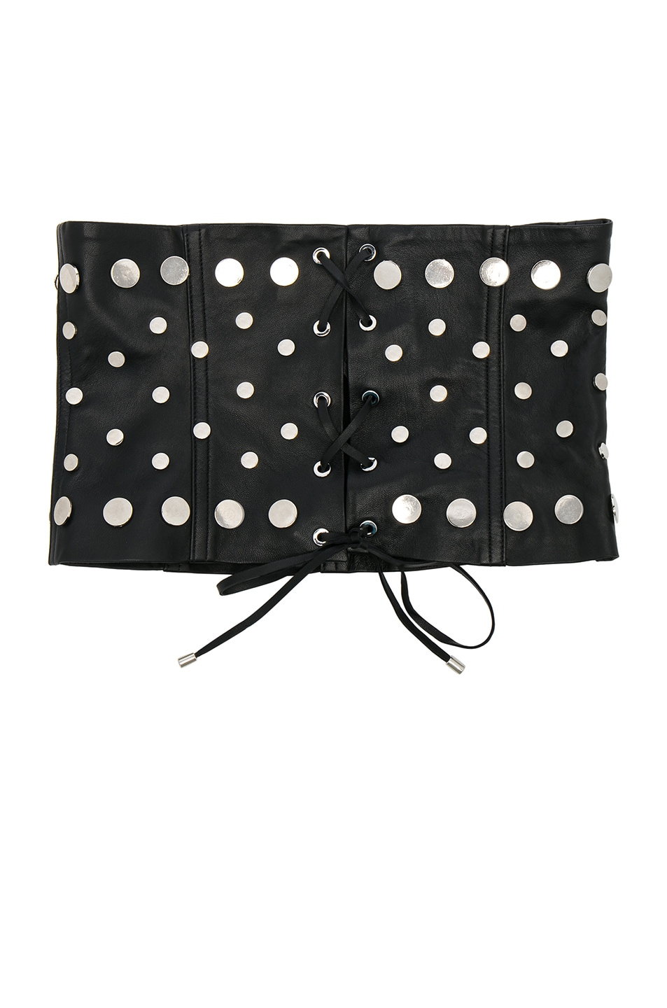 UNDERSTATED LEATHER ULTIMATE FOR FWRD STUDDED LEATHER LACE-UP CORSET BELT IN BLACK