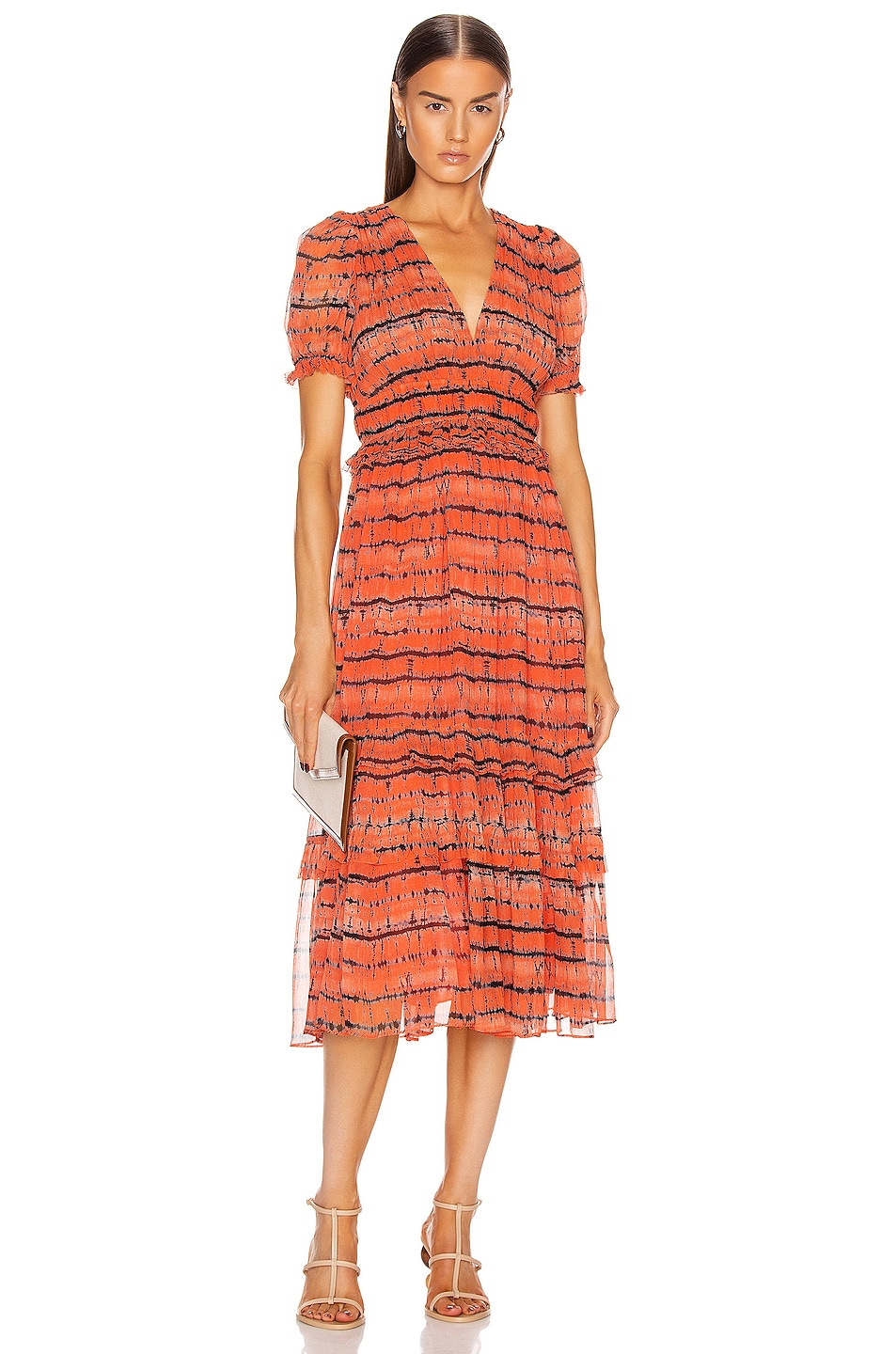 Image 1 of Ulla Johnson Elodie Dress in Chili Tie Dye