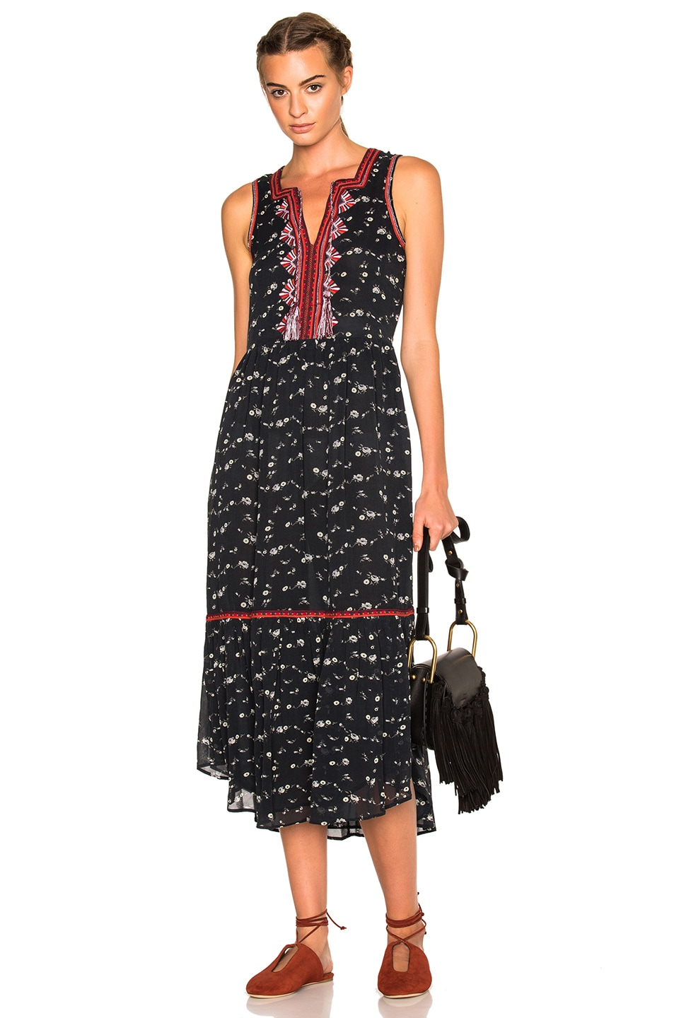 a59932a6b034b Image 1 of Ulla Johnson Leena Floral Georgette Dress in Midnight