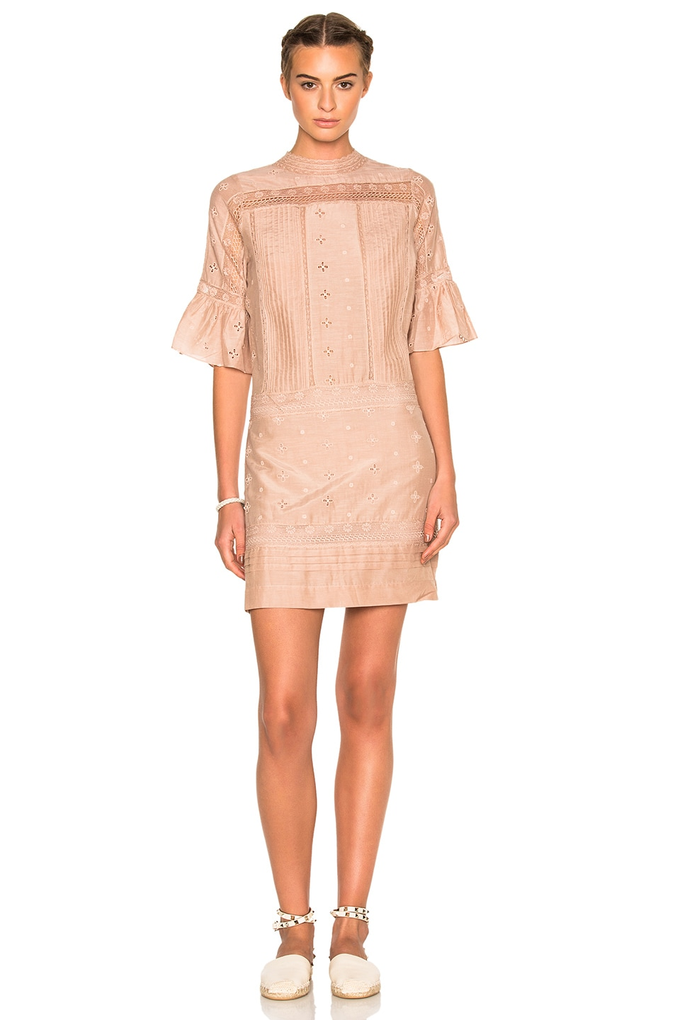 Image 1 of Ulla Johnson Elena Embroidered Cotton Silk Dress in Dusty Rose