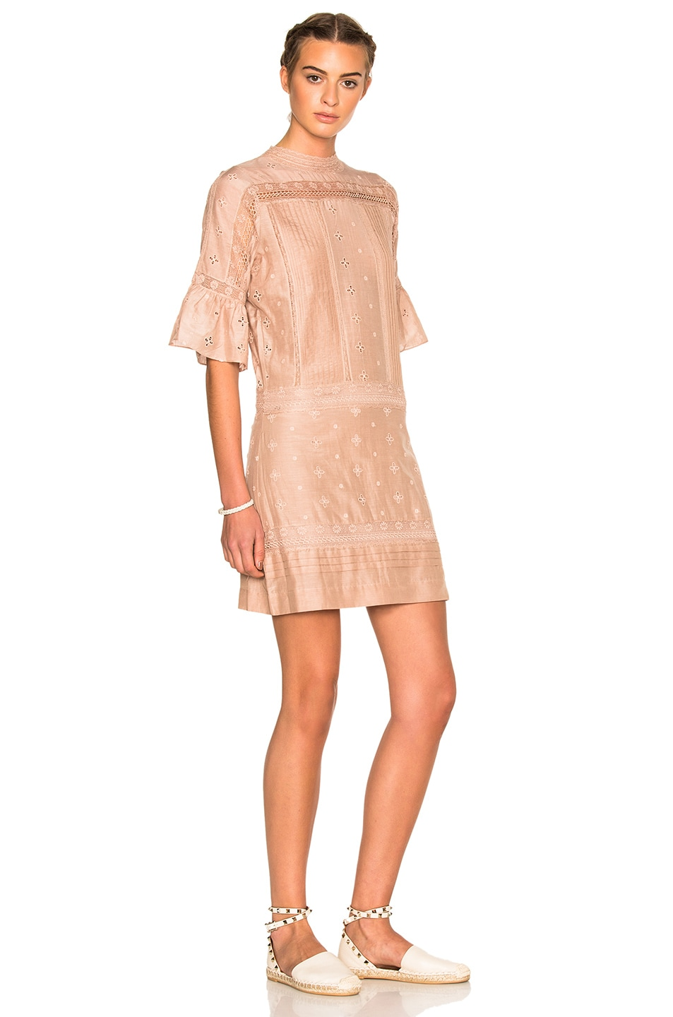 Image 3 of Ulla Johnson Elena Embroidered Cotton Silk Dress in Dusty Rose