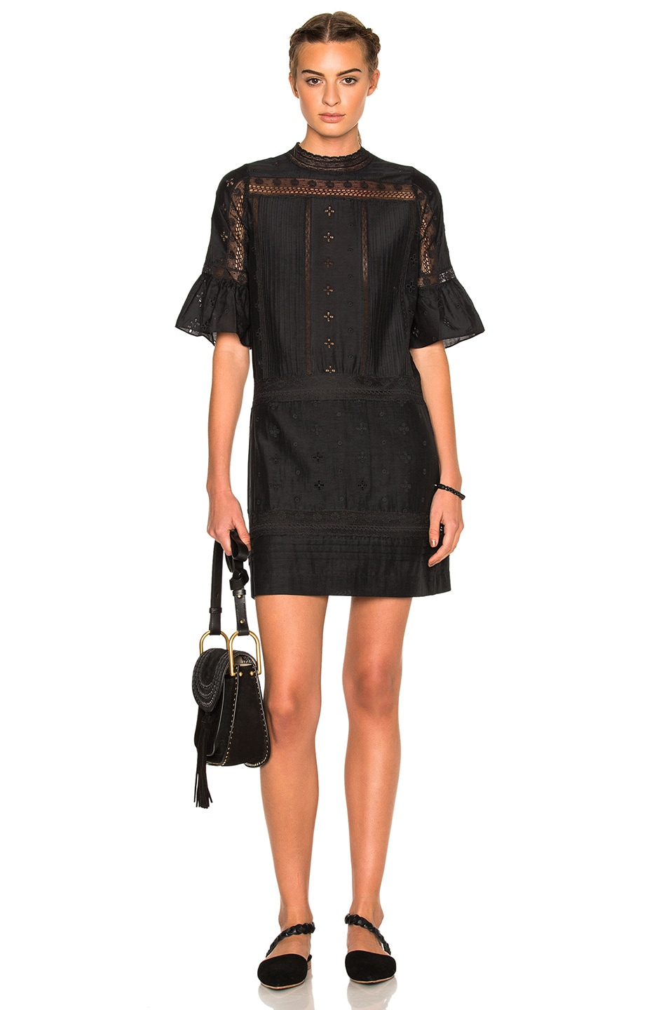 Image 1 of Ulla Johnson Elena Embroidered Cotton Silk Dress in Flint