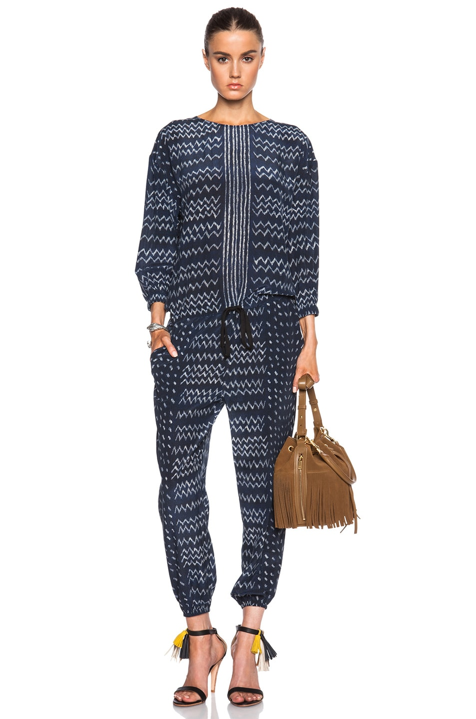 Image 1 of Ulla Johnson Tamara Jumpsuit in Indigo Zig Zag