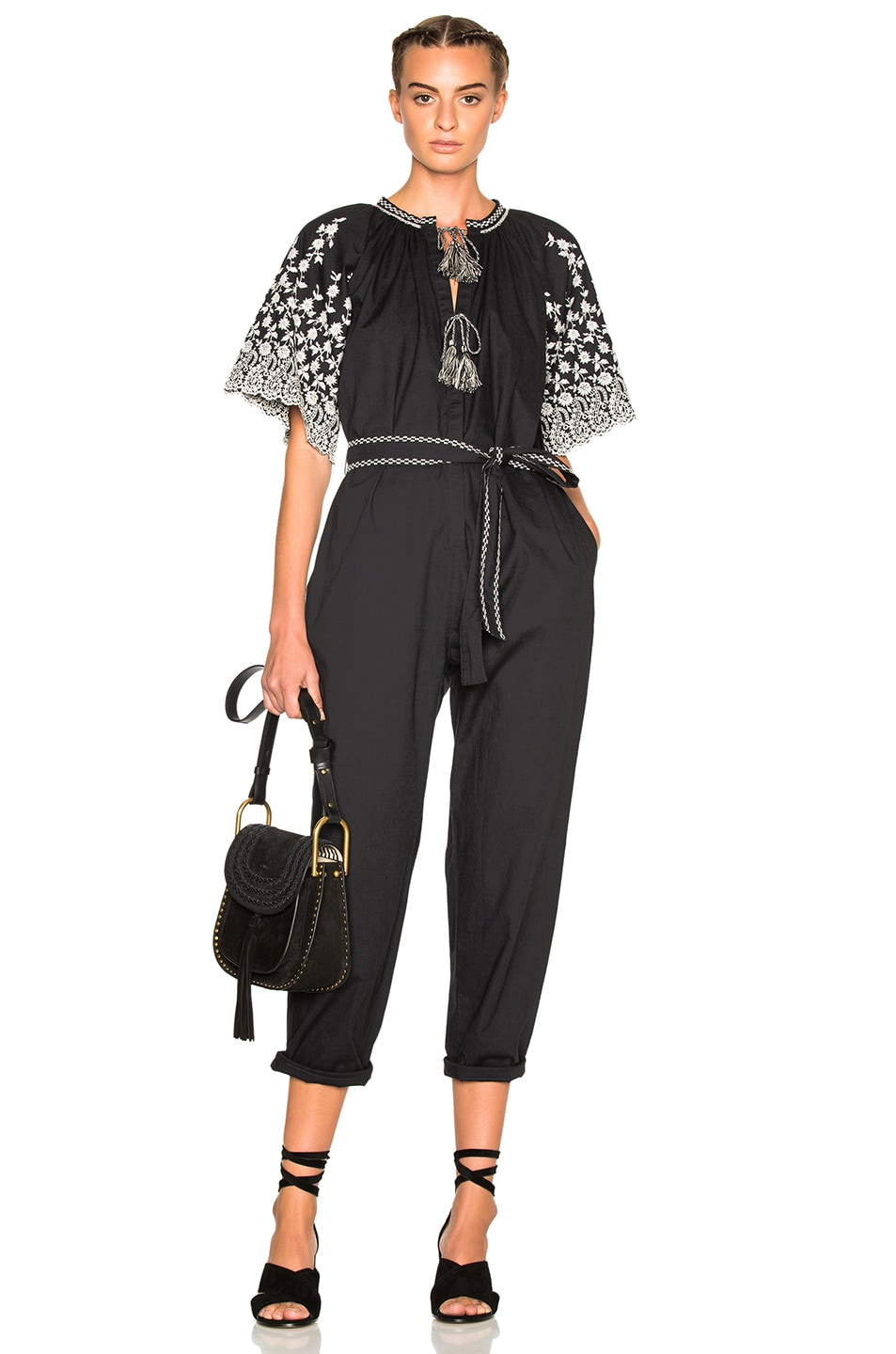 Image 1 of Ulla Johnson Alexi Floral Embroidered Poplin Jumpsuit in Coal