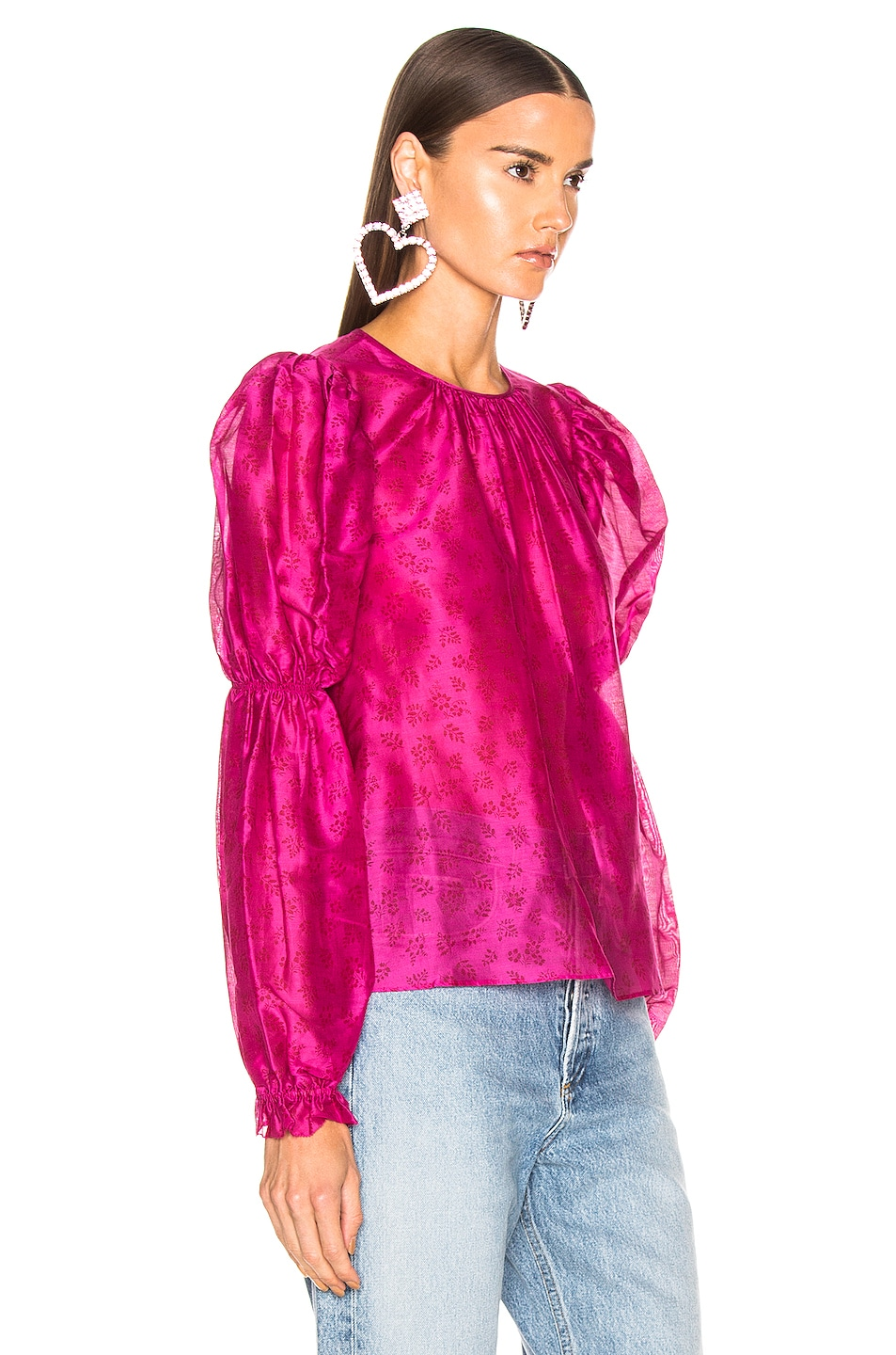 Image 2 of Ulla Johnson Aster Blouse in Fuchsia