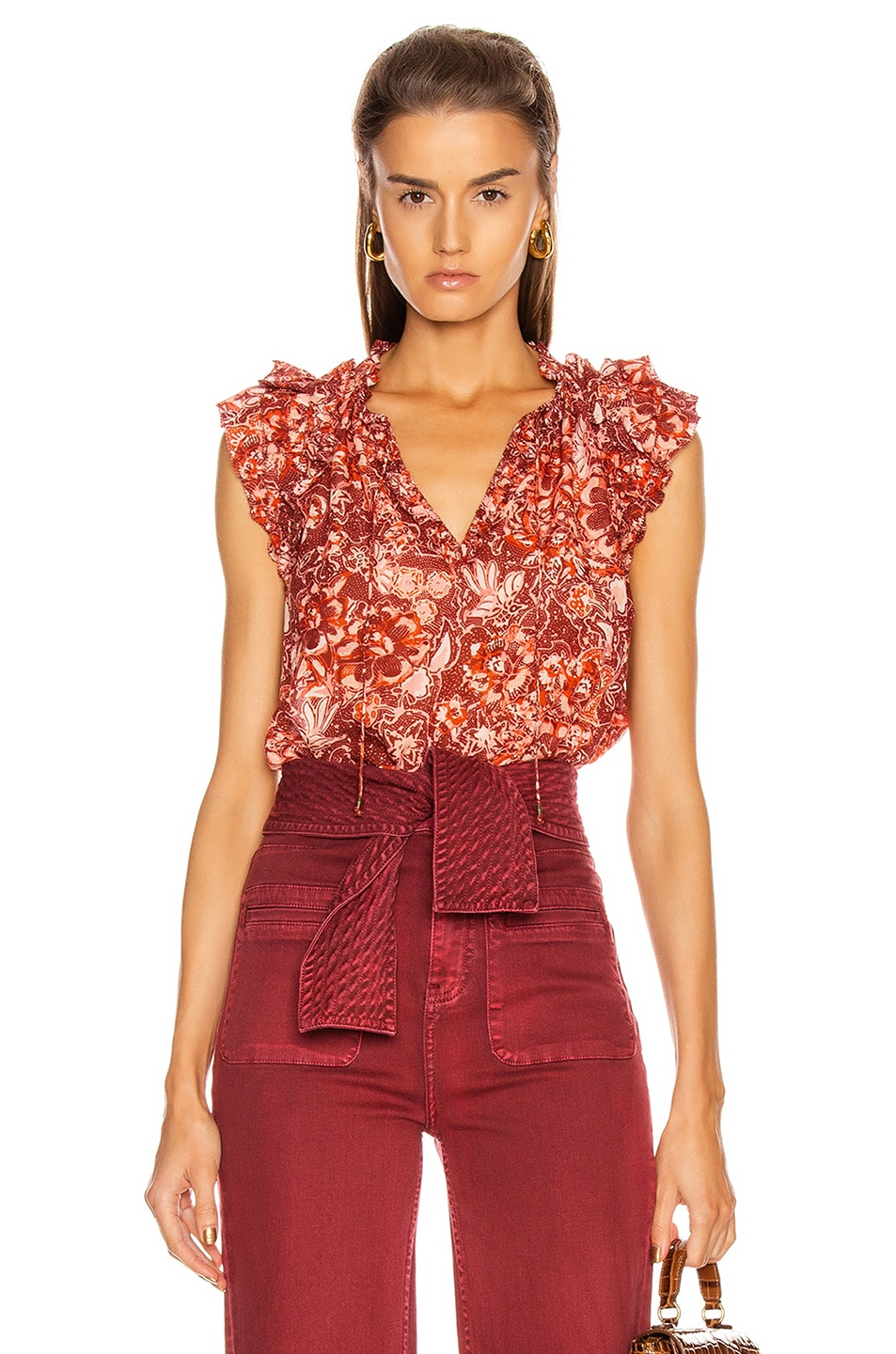 Image 1 of Ulla Johnson Rina Top in Coral