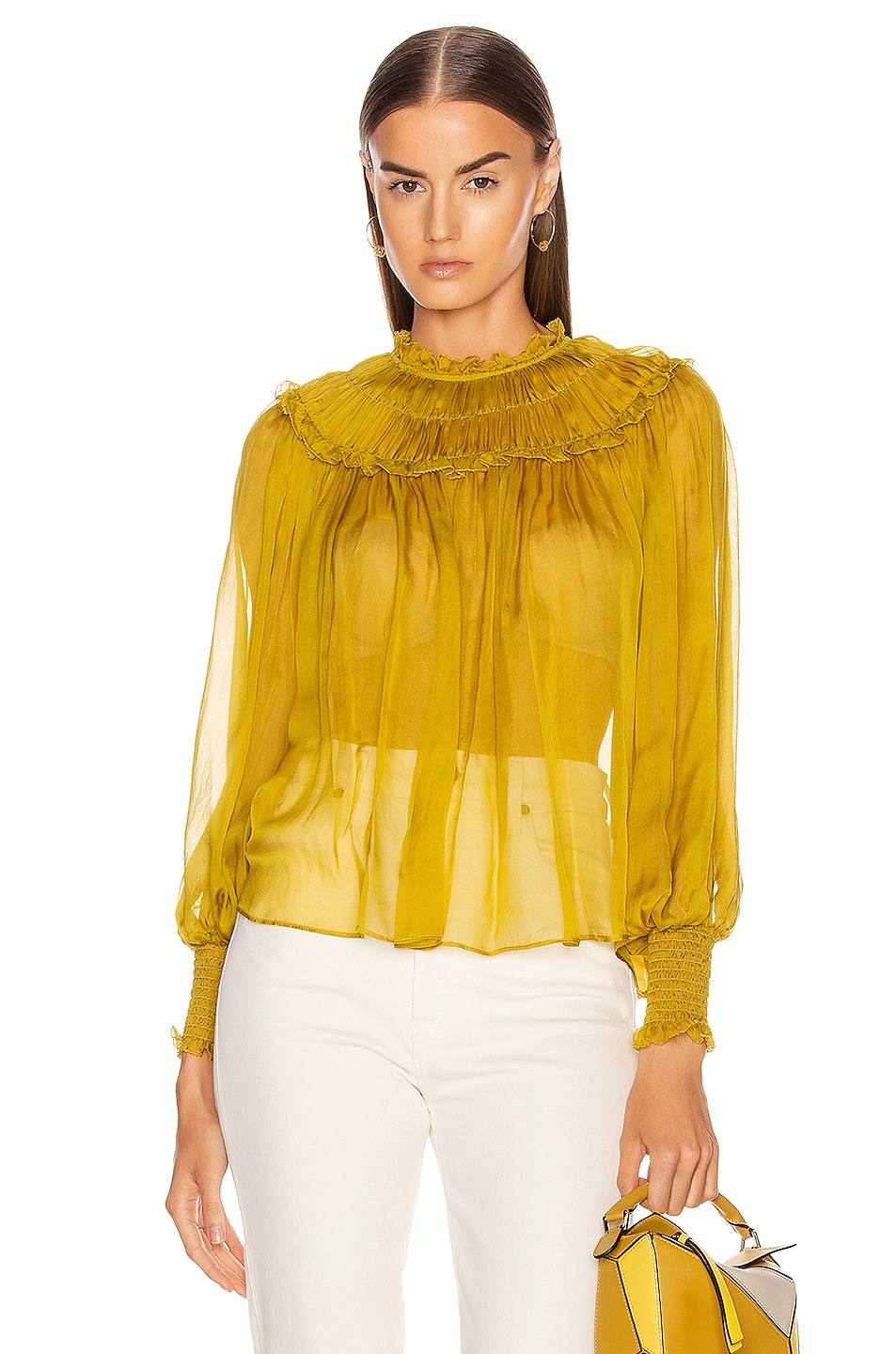 Image 1 of Ulla Johnson Arabella Blouse in Chartreuse