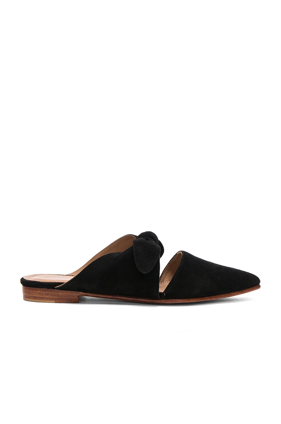 Image 1 of Ulla Johnson Suede Lilo Babouche Mules in Noir