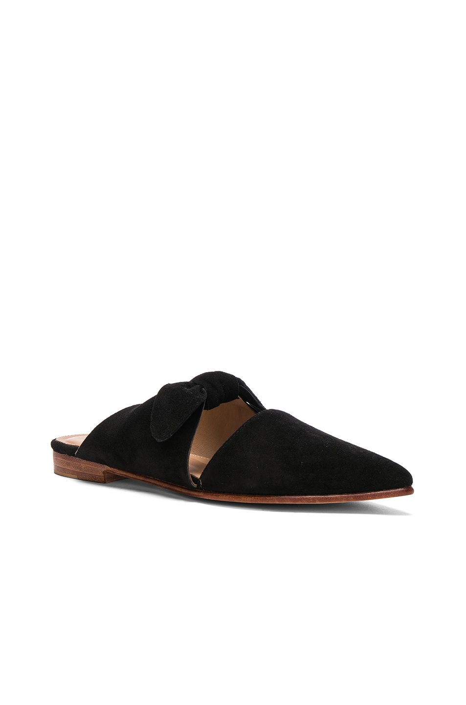 Image 2 of Ulla Johnson Suede Lilo Babouche Mules in Noir